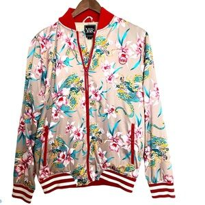 Young & Reckless Oriental satin varsity bomber S